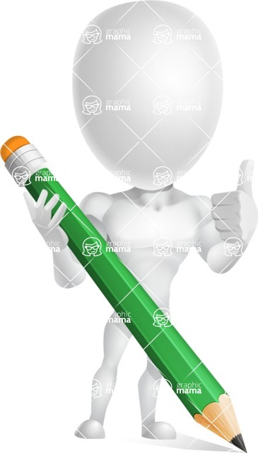 Strong Vector 3D Man with Muscles Cartoon Character AKA Vincent - Pencil