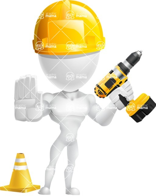 Strong Vector 3D Man with Muscles Cartoon Character AKA Vincent - Under Construction 2