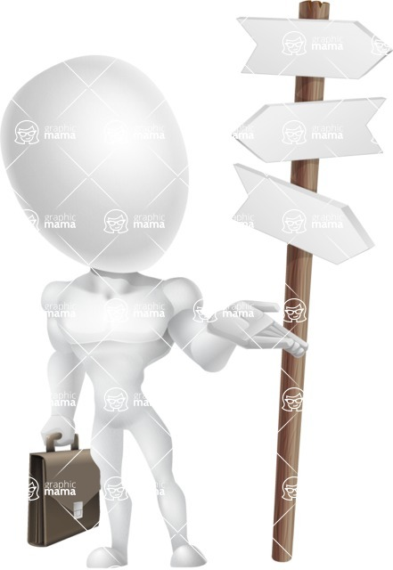 Strong Vector 3D Man with Muscles Cartoon Character AKA Vincent - Crossroad