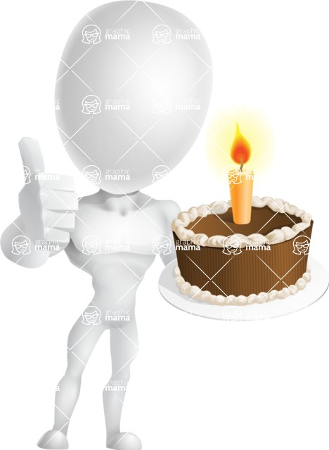 Strong Vector 3D Man with Muscles Cartoon Character AKA Vincent - Cake