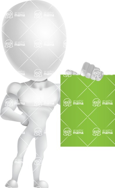 Strong Vector 3D Man with Muscles Cartoon Character AKA Vincent - Sign 3
