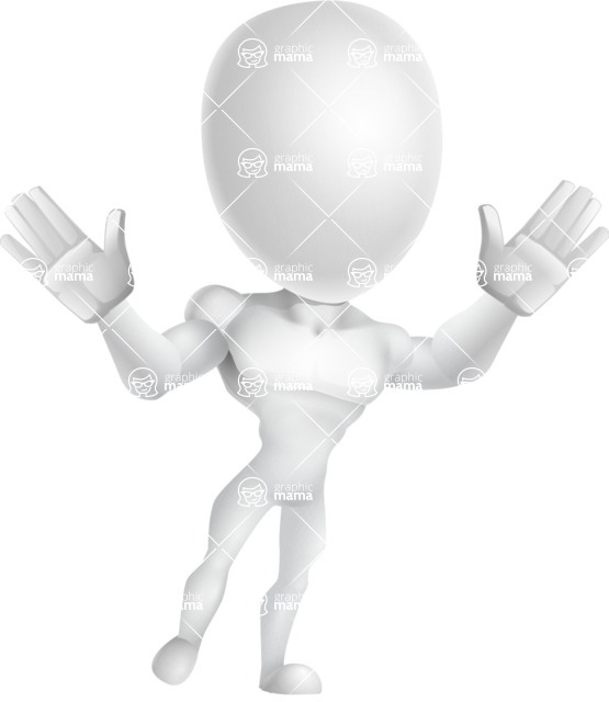 Strong Vector 3D Man with Muscles Cartoon Character AKA Vincent - Happy