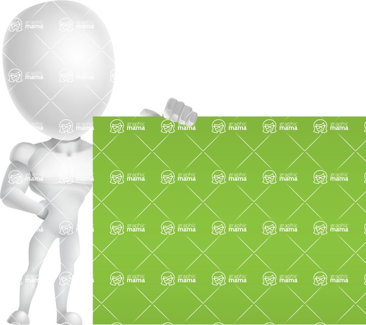 Strong Vector 3D Man with Muscles Cartoon Character AKA Vincent - Sign 8