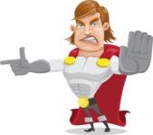 Handsome Superhero Cartoon Vector Character AKA Captain Millennia - Direct Attention