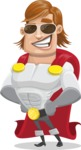 Handsome Superhero Cartoon Vector Character AKA Captain Millennia - Sunglasses