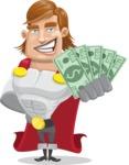 Handsome Superhero Cartoon Vector Character AKA Captain Millennia - Show me the money