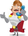 Handsome Superhero Cartoon Vector Character AKA Captain Millennia - Support