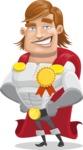 Handsome Superhero Cartoon Vector Character AKA Captain Millennia - Ribbon