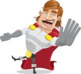 Handsome Superhero Cartoon Vector Character AKA Captain Millennia - Wave