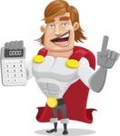 Handsome Superhero Cartoon Vector Character AKA Captain Millennia - Calculator