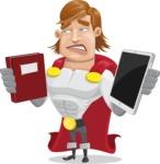 Handsome Superhero Cartoon Vector Character AKA Captain Millennia - Book and iPad