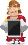 Handsome Superhero Cartoon Vector Character AKA Captain Millennia - iPad1
