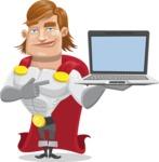 Handsome Superhero Cartoon Vector Character AKA Captain Millennia - Laptop3