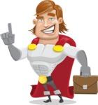Handsome Superhero Cartoon Vector Character AKA Captain Millennia - Briefcase2