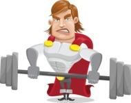 Handsome Superhero Cartoon Vector Character AKA Captain Millennia - Weights