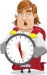 Handsome Superhero Cartoon Vector Character AKA Captain Millennia - Time is yours