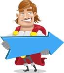 Handsome Superhero Cartoon Vector Character AKA Captain Millennia - Pointer2