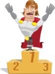 Handsome Superhero Cartoon Vector Character AKA Captain Millennia - On Top