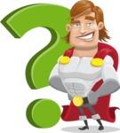 Handsome Superhero Cartoon Vector Character AKA Captain Millennia - Question