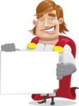 Handsome Superhero Cartoon Vector Character AKA Captain Millennia - Sign3