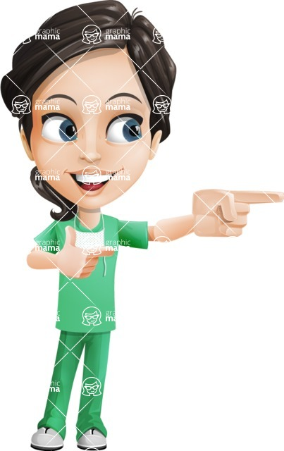 Female Surgeon Vector Cartoon Character AKA Manuela the Medical Intern - Point 2