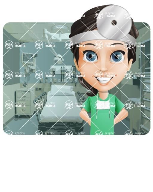 Female Surgeon Vector Cartoon Character AKA Manuela the Medical Intern - Shape 1