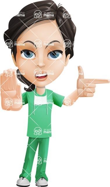 Female Surgeon Vector Cartoon Character AKA Manuela the Medical Intern - Direct Attention 1