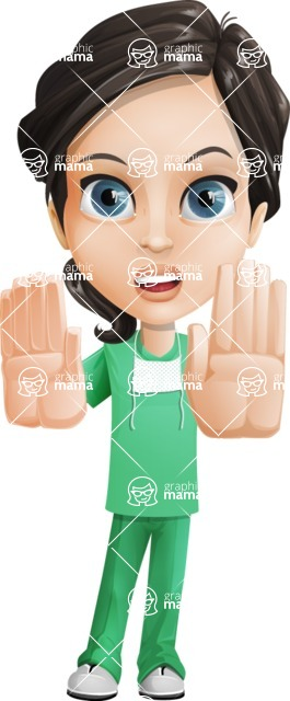 Female Surgeon Vector Cartoon Character AKA Manuela the Medical Intern - Stop 2
