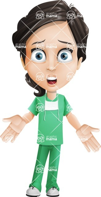Female Surgeon Vector Cartoon Character AKA Manuela the Medical Intern - Stunned