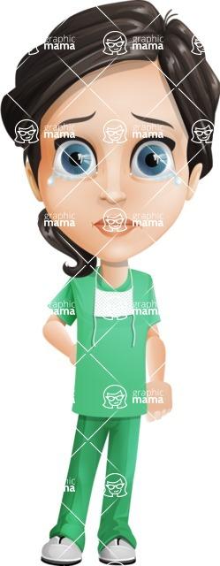 Female Surgeon Vector Cartoon Character AKA Manuela the Medical Intern - Sad 2