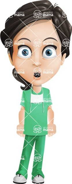 Female Surgeon Vector Cartoon Character AKA Manuela the Medical Intern - Shocked