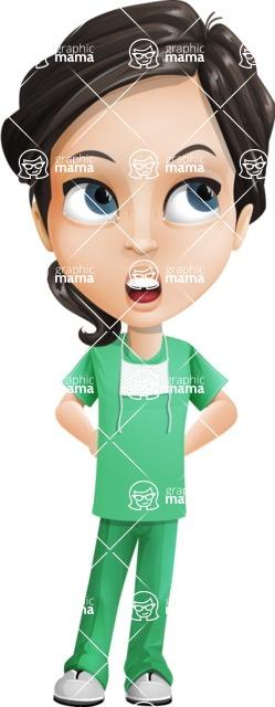 Female Surgeon Vector Cartoon Character AKA Manuela the Medical Intern - Roll Eyes