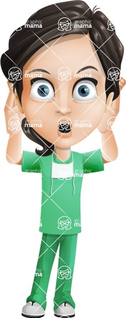 Female Surgeon Vector Cartoon Character AKA Manuela the Medical Intern - Confused