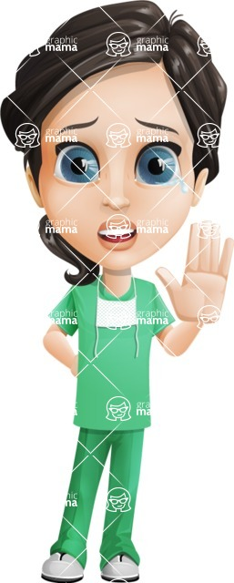 Female Surgeon Vector Cartoon Character AKA Manuela the Medical Intern - Goodbye