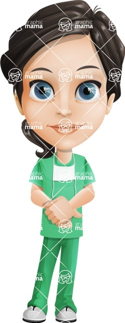Female Surgeon Vector Cartoon Character AKA Manuela the Medical Intern - Patient