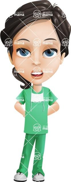 Female Surgeon Vector Cartoon Character AKA Manuela the Medical Intern - Bored 1