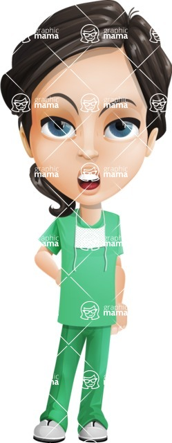 Female Surgeon Vector Cartoon Character AKA Manuela the Medical Intern - Bored 2