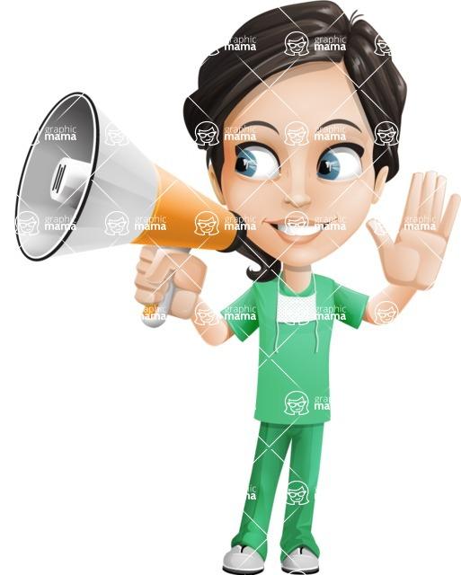 Female Surgeon Vector Cartoon Character AKA Manuela the Medical Intern - Loudspeaker