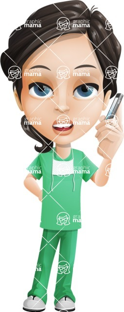 Female Surgeon Vector Cartoon Character AKA Manuela the Medical Intern - Support 1
