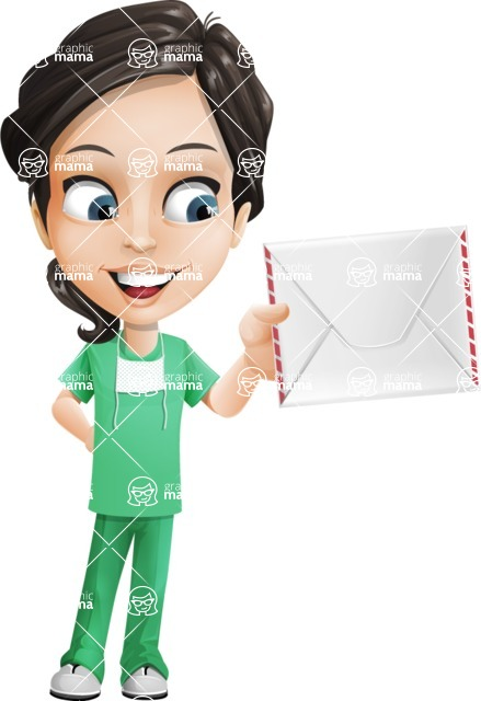 Female Surgeon Vector Cartoon Character AKA Manuela the Medical Intern - Letter