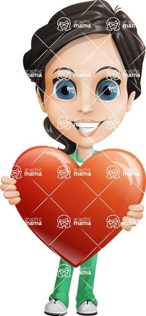 Female Surgeon Vector Cartoon Character AKA Manuela the Medical Intern - Love