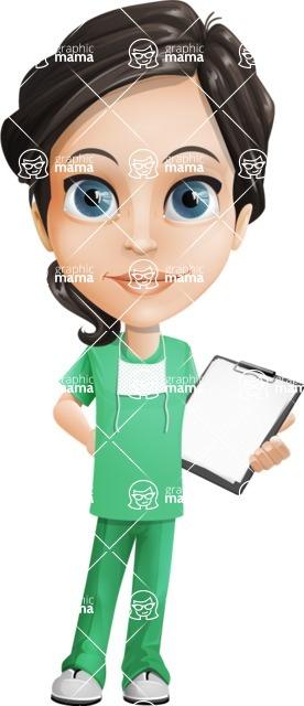 Female Surgeon Vector Cartoon Character AKA Manuela the Medical Intern - Note 1