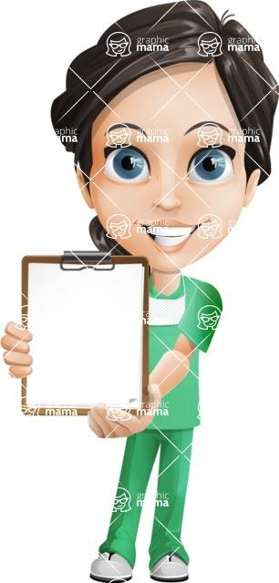 Female Surgeon Vector Cartoon Character AKA Manuela the Medical Intern - Note 3