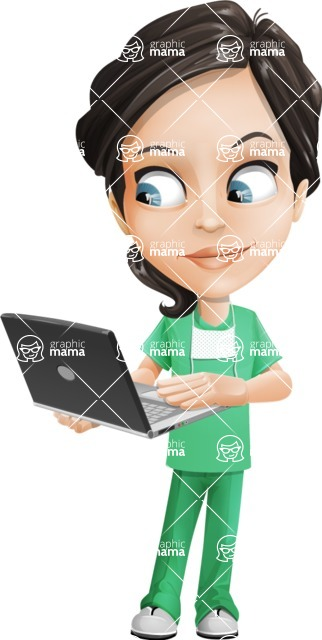 Female Surgeon Vector Cartoon Character AKA Manuela the Medical Intern - Laptop