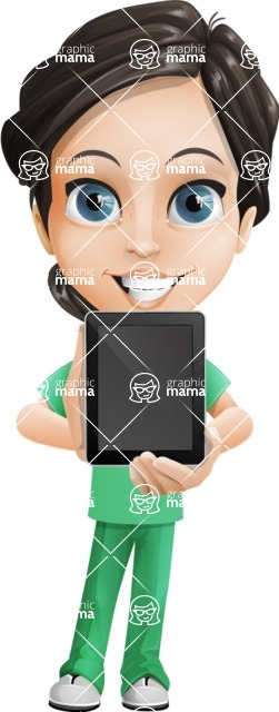 Female Surgeon Vector Cartoon Character AKA Manuela the Medical Intern - iPad 1