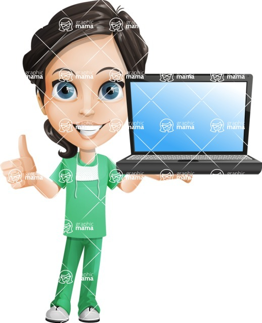 Female Surgeon Vector Cartoon Character AKA Manuela the Medical Intern - Laptop 2