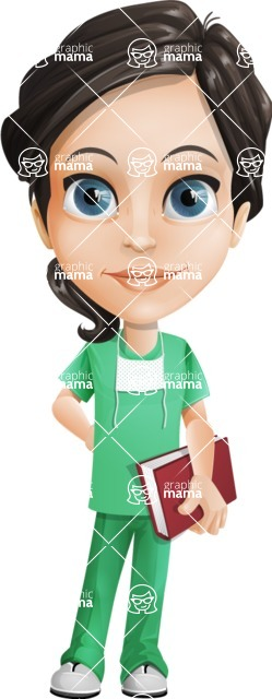 Female Surgeon Vector Cartoon Character AKA Manuela the Medical Intern - Book 4