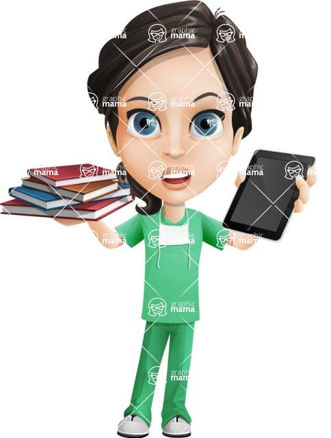 Female Surgeon Vector Cartoon Character AKA Manuela the Medical Intern - Books vs iPad