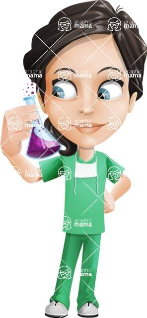 Female Surgeon Vector Cartoon Character AKA Manuela the Medical Intern - Flask 2
