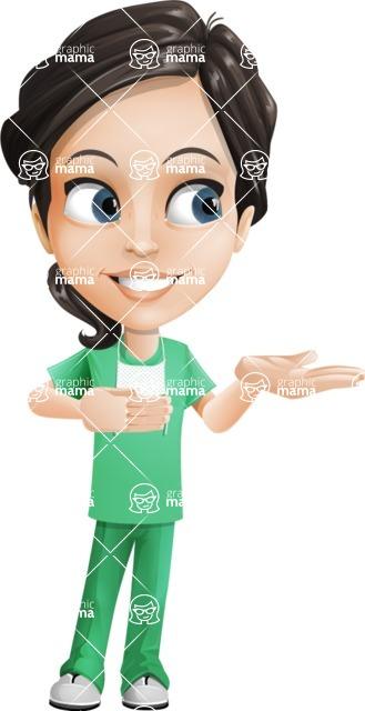 Female Surgeon Vector Cartoon Character AKA Manuela the Medical Intern - Showcase 2